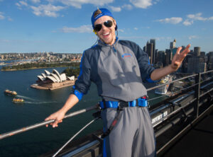 Nice view! The DWTS pro poses Down Under after climbing the Sydney Harbour Bridge.